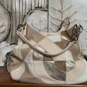 Coach cream patchwork suede leather handbag purse